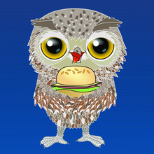Cool Happy Smiling Owl Stands Sticking Out His Tongue With Pleasure And Holds A Hamburger, Color Vector Detailed