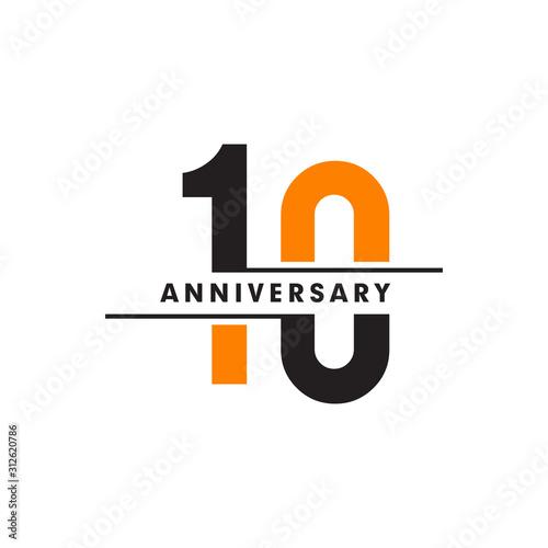 Photographie 10th celebrating anniversary emblem logo design vector illustration template