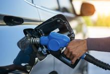 Pumping Gas At Gas Pump. Close...