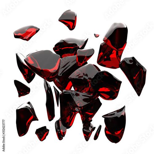 3Dレンダリングによる砕ける透明な赤色の石のイラスト Fotobehang