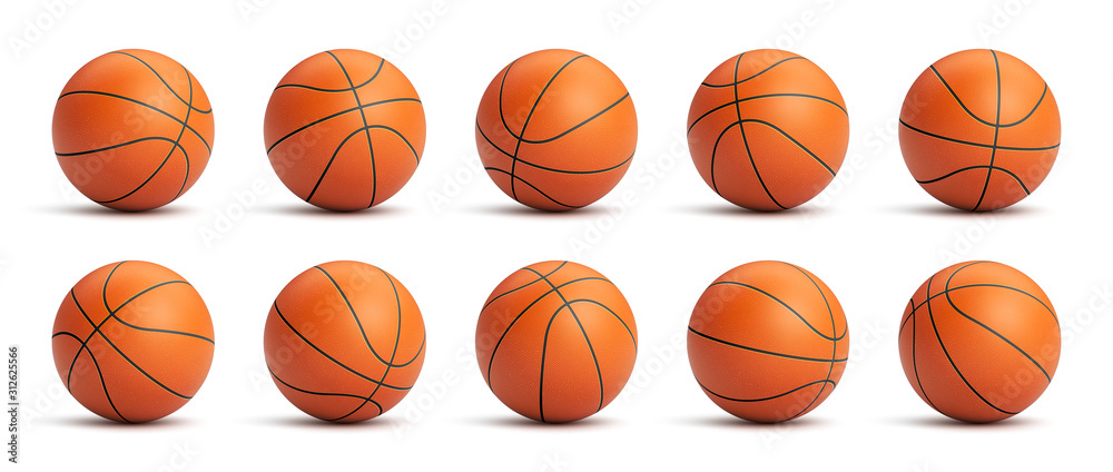 Fototapeta Set of orange basketball balls with leather texture in different positions