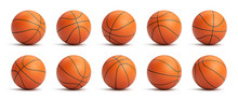 Set Of Orange Basketball Balls With Leather Texture In Different Positions