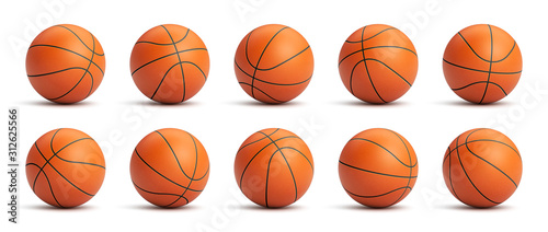 Carta da parati Set of orange basketball balls with leather texture in different positions