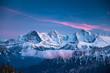 Leinwandbild Motiv Eiger Mönch and Jungfrau during the blue hour in winter