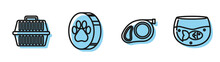 Set Line Retractable Cord Leash With Carabiner, Pet Carry Case, Paw Print And Aquarium With Fish Icon. Vector