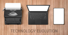 Technology Evolution From Vintage Typewriter To Modern Laptop And Tablet. Vector Concept Illustration Of Progress Electronic Gadgets To Computer With Keyboard And Touchscreen Devices