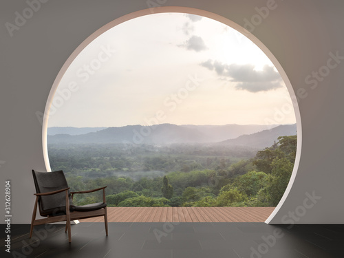 Photo A wall with arch shape gap looking out over the mountains 3d render,The room has black tile floor