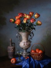 Still Life With Amber Roses And Persimmons