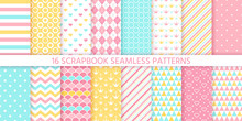 Scrapbook Seamless Pattern. Vector. Cute Birthday Prints. Set Textures With Polka Dot, Stripe, Zigzag, Heart, Crown, Fish Scale. Pastel Illustration. Retro Background. Geometric Trendy Color Backdrop.