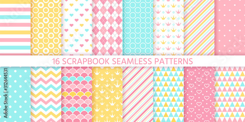 obraz lub plakat Scrapbook seamless pattern. Vector. Cute birthday prints. Set textures with polka dot, stripe, zigzag, heart, crown, fish scale. Pastel illustration. Retro background. Geometric trendy color backdrop.