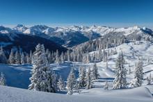 Perfekte Winterlandschaft In Den Alpen (Montafon, Vorarlberg, Österreich)