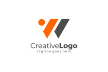 Abstract Geometric Triangle Letter W Or Logo Concept Design Template Element. Flat Vector Illustration