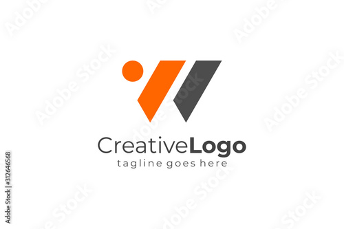 Abstract Geometric Triangle Letter W or VW Logo Concept Design Template Element Canvas Print