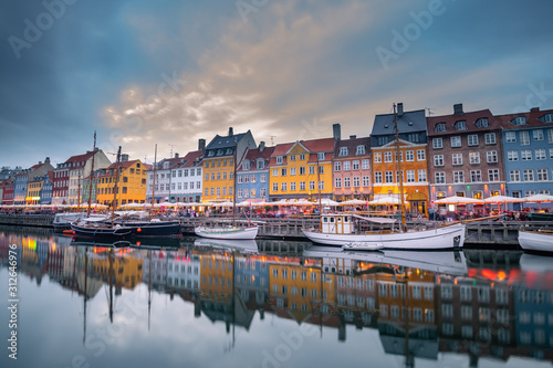Beautiful Copenhagen city skyline at night  in Denmark Canvas Print