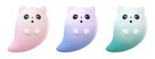 Collection Of Cute Cartoon Ghost Cat Floating In The Air. Concept Art Flying Kawaii Ghost Character With Open Mouth, Cat Ears, Big Black Eyes. Game Icon. 3d Illustration Isolated On White Background