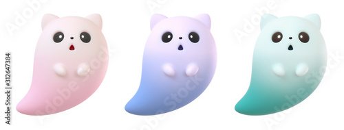 Photographie Collection of cute cartoon ghost cat floating in the air
