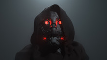 3D Digital Illustration Of Cyborg Head With Red Luminous Eyes In The Hood In The Night Scene. Science Fiction Helmet With Dark Metal. Robot With Artificial Intelligence. Concept Art Futuristic Soldier