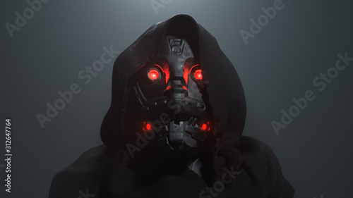 Photo 3D digital illustration of cyborg head with red luminous eyes in the hood in the night scene
