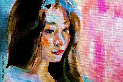 Ritratto in arte moderna con profilo di donna asiatica, su sfondo colorato con t Canvas Print