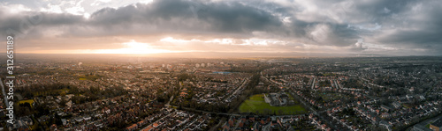 Stampa su Tela Beautiful Aerial Panorama of Chester at sunset in, Cheshire, UK