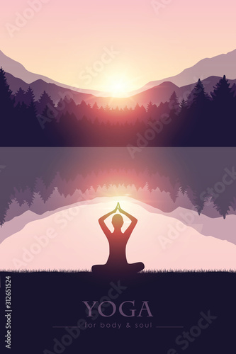 yoga for body and soul meditating person silhouette by the lake with mountain landscape vector illustration EPS10