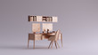 canvas print picture Bronze Small Contemporary Home Office Setup 3d illustration 3d rendering
