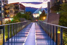 Pedestrian Walkway Bridge In Downtown Chattanooga, Tennessee