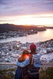 Couple of love is enjoying travel  in Bergen, Norway