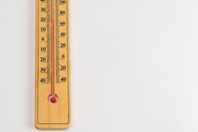 Old Wooden Thermometer With Me...