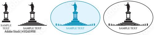 Fototapeta Odessa landmark Duke de Richelieu monument vector icon set, Odessa's first Mayor