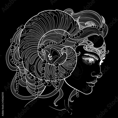 Photo negative black illustration of aries girl with beautiful horns, hairstyle, and c