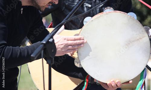 pizzica tambourine - Salento, Italy Canvas Print