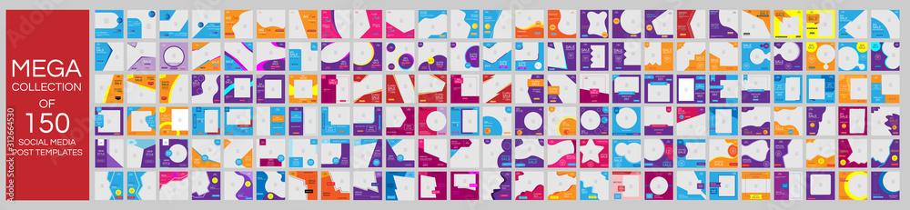 Fototapeta Mega collection of 150 social media post design template