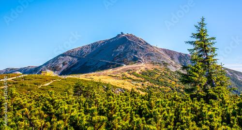 Fototapeta Snezka, or Sniezka - the highest mountain of Czech Republic, Giant Mountains - Krkonose National Park, Czech Republic and Poland obraz