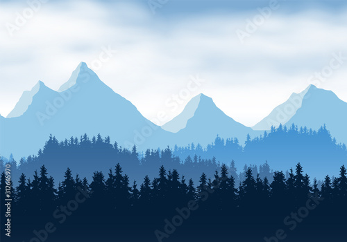 Valokuva  Realistic illustration of mountain landscape with coniferous forest and clouds
