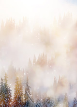 Mountain Snowy Landscape And Snow Covered Trees, Graphic Effect.