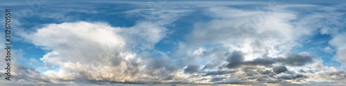 Obraz blue sky with beautiful evening cumulus clouds. Seamless hdri panorama 360 degrees angle view with zenith for use in graphics or game development as sky dome or edit drone shot - fototapety do salonu