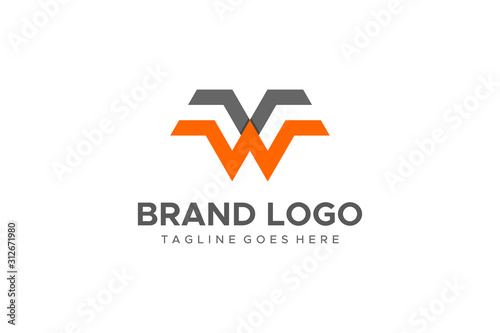 Abstract Letter W or VW Logo Wallpaper Mural