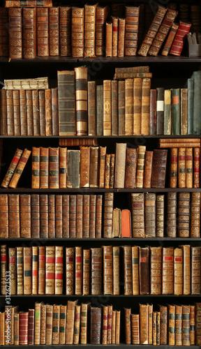 Fotografie, Obraz old books on wooden shelf
