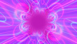 canvas print picture - futuristic symmetrical mess made with glowing neon lights in cyan pink magenta blue with center space empty intended for your text logo or design