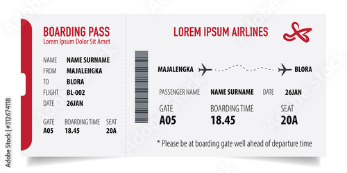 Fotomural Boarding pass isolated template on white background