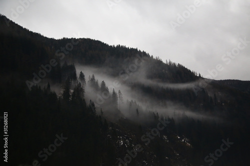 Fototapety, obrazy: Alps mountains in the fog