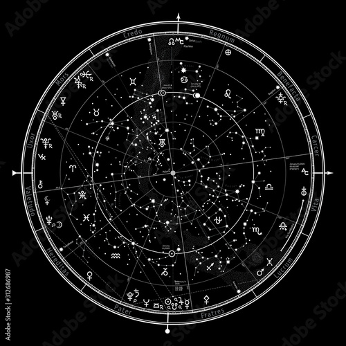 Astrological Celestial Map of The Northern Hemisphere Wallpaper Mural