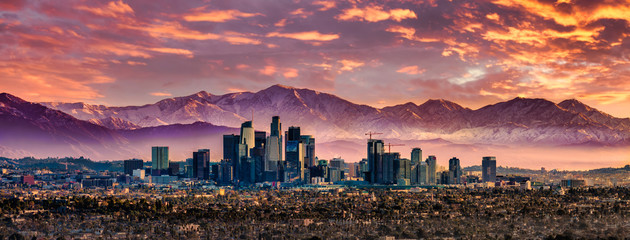 Los Angeles Skyline and Snowcapped mountains