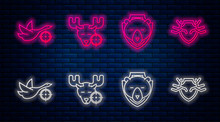 Set Line Hunt On Moose With Crosshairs, Bear Head On Shield, Hunt On Duck With Crosshairs And Deer Antlers And Shield. Glowing Neon Icon On Brick Wall. Vector