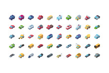 Isolated Isometric Cars Icon S...