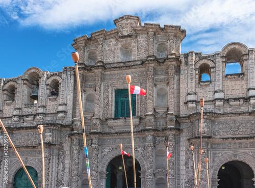 Vászonkép Musical clarinets aloft in Cajamarca Peru Cathedral