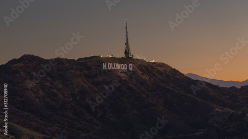 Hollywood sign during sunset Wallpaper Mural