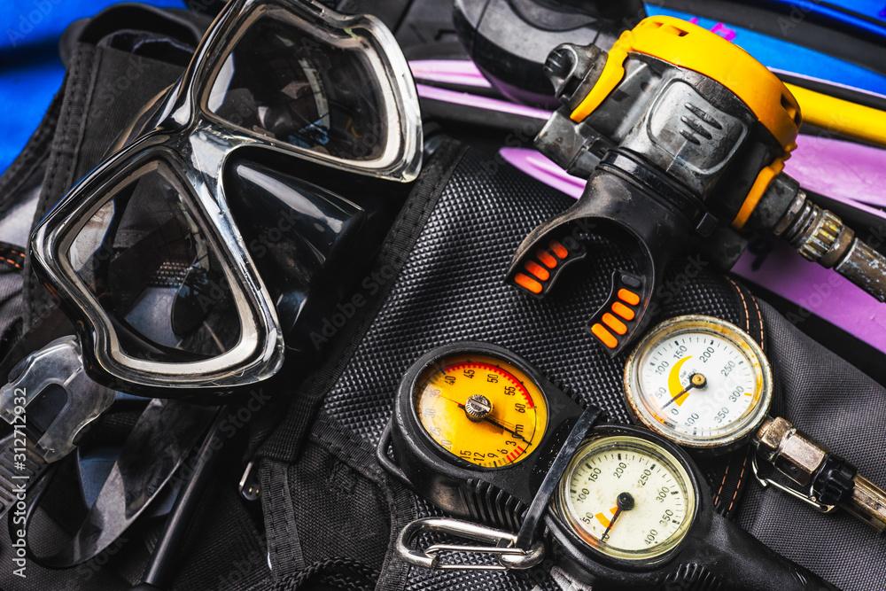 Fototapeta set of Scuba Diving Gear Kit