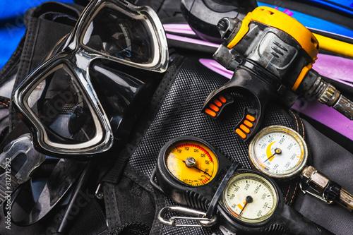 Fototapeta set of Scuba Diving Gear Kit obraz
